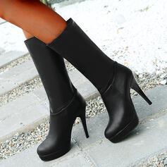 Vrouwen PU Chunky Heel Half-Kuit Laarzen Puntige teen met Rits Effen kleur schoenen