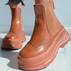 Vrouwen PU Chunky Heel Plateau Enkel Laarzen Ronde neus met Rits Geborduurd schoenen