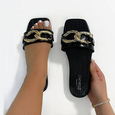 Women's PU Flat Heel Sandals Flats Peep Toe Slippers With Beading Chain Hollow-out shoes