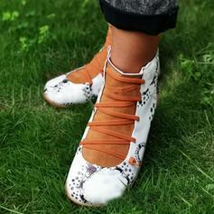 Vrouwen Kunstleer Flat Heel Laarzen Enkel Laarzen Ronde neus met Vastrijgen schoenen