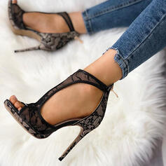 Women's Mesh Stiletto Heel Pumps With Zipper Hollow-out shoes