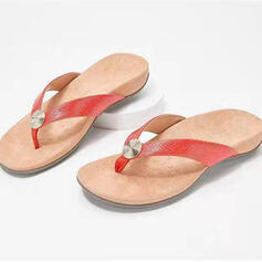 Women's PU Flat Heel Sandals Flats Flip-Flops Slippers With Solid Color shoes