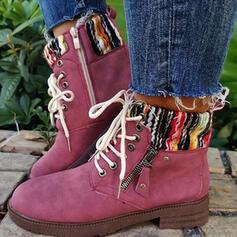 Vrouwen Doek Chunky Heel Laarzen Half-Kuit Laarzen Ronde neus met Vastrijgen Las kleur schoenen