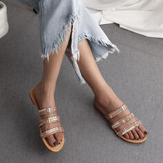 Women's PU Flat Heel Sandals Peep Toe With Rhinestone Hollow-out shoes