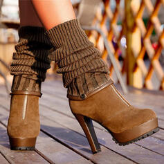 Women's PU Platform Sock Boots With Zipper shoes