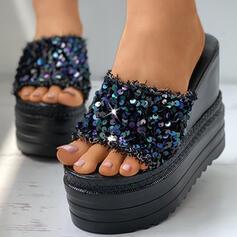 Vrouwen PU Wedge Heel Sandalen Plateau Wedges Peep Toe Slippers met Sprankelende Glitter schoenen