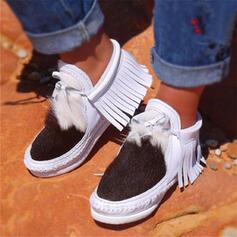 Vrouwen PU Flat Heel Enkel Laarzen Ronde neus met Tassel Las kleur schoenen