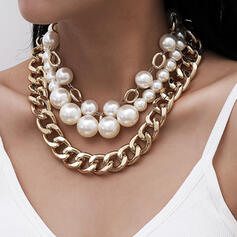Fashionable Sexy Vintage Classic Alloy Imitation Pearls With Imitation Pearl Gold Plated Women's Ladies' Necklaces 3 PCS