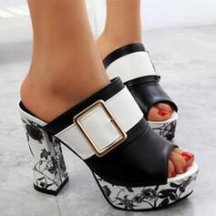 Women's PU Chunky Heel Sandals Pumps Peep Toe Slippers Heels With Buckle Flower Print shoes