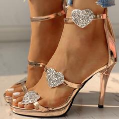 Women's PU Stiletto Heel Sandals Pumps Peep Toe Heels With Zipper shoes