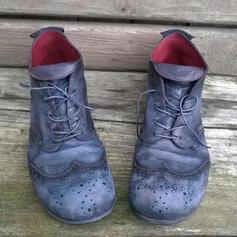 Vrouwen PU Flat Heel Enkel Laarzen Ronde neus met Vastrijgen Hol-out schoenen