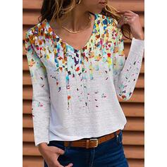 Print V-Neck Long Sleeves T-shirts