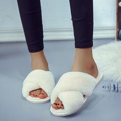 Vrouwen Suede Kunstleer Flat Heel Sandalen Peep Toe Slippers met Bont schoenen