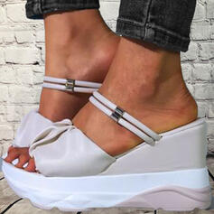 Women's PU Wedge Heel Sandals Wedges Peep Toe Slippers Heels Round Toe With Ruffles Ruched Chain Solid Color shoes