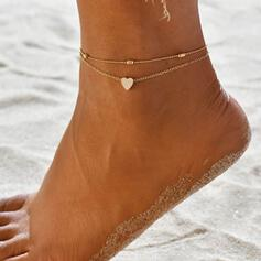 Simple Charming Fancy Heart Layered Valentine's Day Alloy With Heart Women's Ladies' Anklets 2 PCS