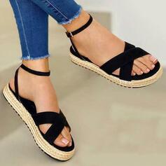 Women's Canvas Flat Heel Sandals Flats Peep Toe With Solid Color Crisscross shoes