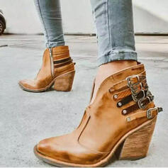 Vrouwen PU Chunky Heel Enkel Laarzen Puntige teen met Klinknagel Gesp schoenen