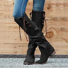 Women's PU Chunky Heel Knee High Boots Round Toe With Zipper Tassel shoes