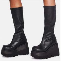Vrouwen PU Chunky Heel Half-Kuit Laarzen Martin Boots Ronde neus met Rits Effen kleur schoenen