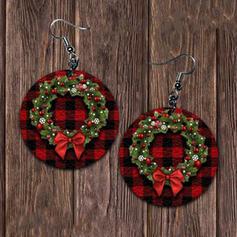 Christmas Christmas Wreaths Alloy PU Women's Earrings 2 PCS