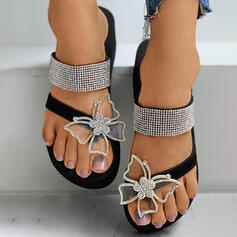 Women's Leatherette Silk Like Satin Flat Heel Sandals Slippers Toe Ring With Rhinestone Butterfly shoes