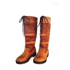 Vrouwen Suede Low Heel Laarzen Half-Kuit Laarzen met Vastrijgen Las kleur schoenen