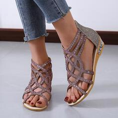 Vrouwen PU Flat Heel Sandalen Peep Toe Slingbacks met Strass Rits Hol-out schoenen