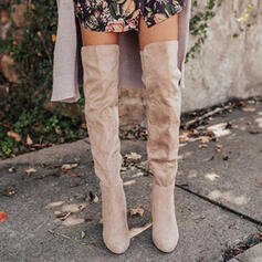 Women's Suede Chunky Heel Over The Knee Boots Round Toe With Ruched Solid Color shoes