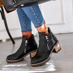 Vrouwen PU Chunky Heel Enkel Laarzen Ronde neus met Rits Effen kleur schoenen