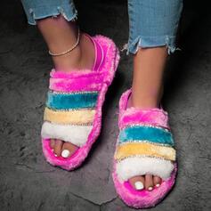 Women's Suede Flat Heel Sandals Peep Toe With Faux-Fur Splice Color shoes