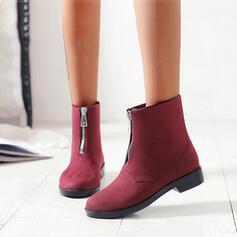 Vrouwen PVC Low Heel Laarzen Enkel Laarzen Regenlaarzen Ronde neus met Rits schoenen