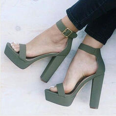 Women's PU Chunky Heel Sandals Pumps Platform Peep Toe Heels With Solid Color shoes
