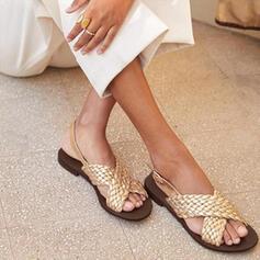 Vrouwen Kunstleer Flat Heel Sandalen Flats Peep Toe met Elastiek schoenen