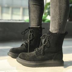 Vrouwen PU Chunky Heel Enkel Laarzen Martin Boots Ronde neus met Gesp Vastrijgen schoenen