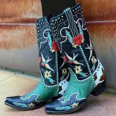 Vrouwen PU Chunky Heel Laarzen Half-Kuit Laarzen Vierkante teen met Klinknagel Las kleur Geborduurd schoenen