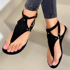 Women's PU Flat Heel Sandals Flats Peep Toe Flip-Flops With Rivet Hollow-out shoes