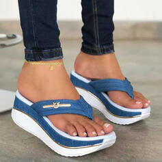 Women's PU Wedge Heel Sandals Platform Wedges Flip-Flops Slippers With Colorblock shoes