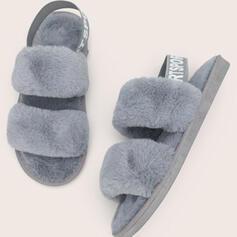 Vrouwen Kunstleer Flat Heel Peep Toe met Bont schoenen