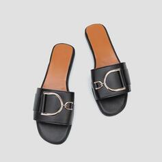 Vrouwen PU Flat Heel Peep Toe met Klinknagel schoenen