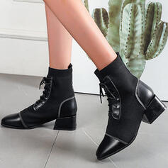 Women's PU Flying Weave Chunky Heel Closed Toe Boots Ankle Boots Mid-Calf Boots High Top Heels Round Toe Sock Boots With Lace-up Solid Color shoes