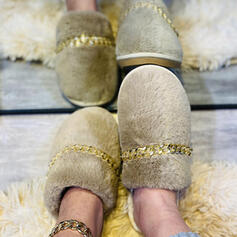 Women's Suede Flat Heel Closed Toe Slippers Round Toe With Faux-Fur Splice Color shoes
