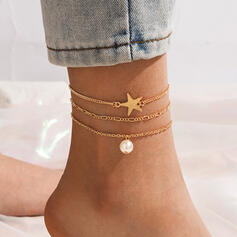 Fashionable Vintage Simple Alloy With Star Women's Ladies' Girl's Anklets 3 PCS