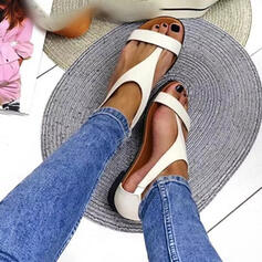 Women's PU Flat Heel Sandals Flats Peep Toe Slippers Toe Ring Round Toe With Buckle Solid Color shoes