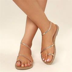 PU Flat Heel Sandals Flats Peep Toe Toe Ring With Others shoes