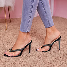 Women's PU Stiletto Heel Sandals Pumps Peep Toe Heels With Rhinestone shoes