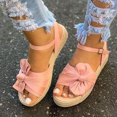 Vrouwen Doek Flat Heel Sandalen Plateau Wedges Peep Toe met strik Gesp Hol-out schoenen