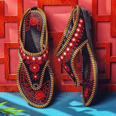 Women's PU Flat Heel Sandals Peep Toe Flip-Flops With Splice Color Crisscross shoes
