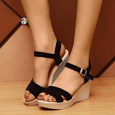 Vrouwen PU Wedge Heel Sandalen Plateau Wedges met Gesp Hol-out schoenen