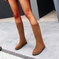 Vrouwen Kunstleer Chunky Heel Half-Kuit Laarzen Ronde neus met Rits Effen kleur schoenen