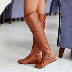 Vrouwen PU Flat Heel Knie Lengte Laarzen Ronde neus met Gesp Effen kleur schoenen